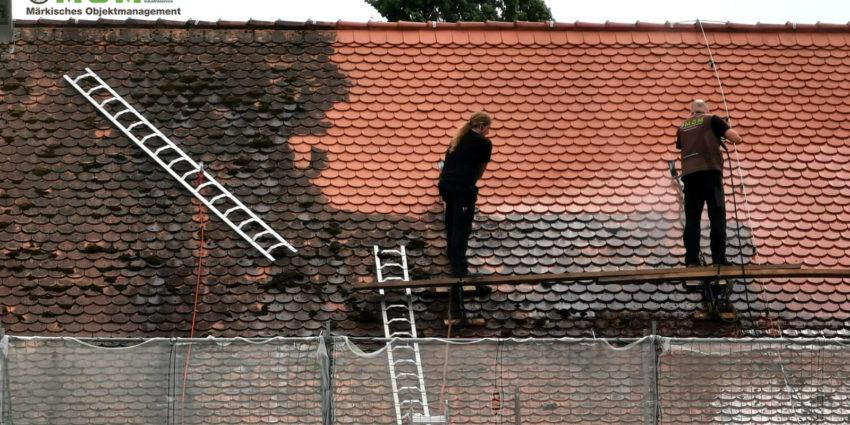 Dachreinigung denkmalgeschützter Markthalle Herford 2019